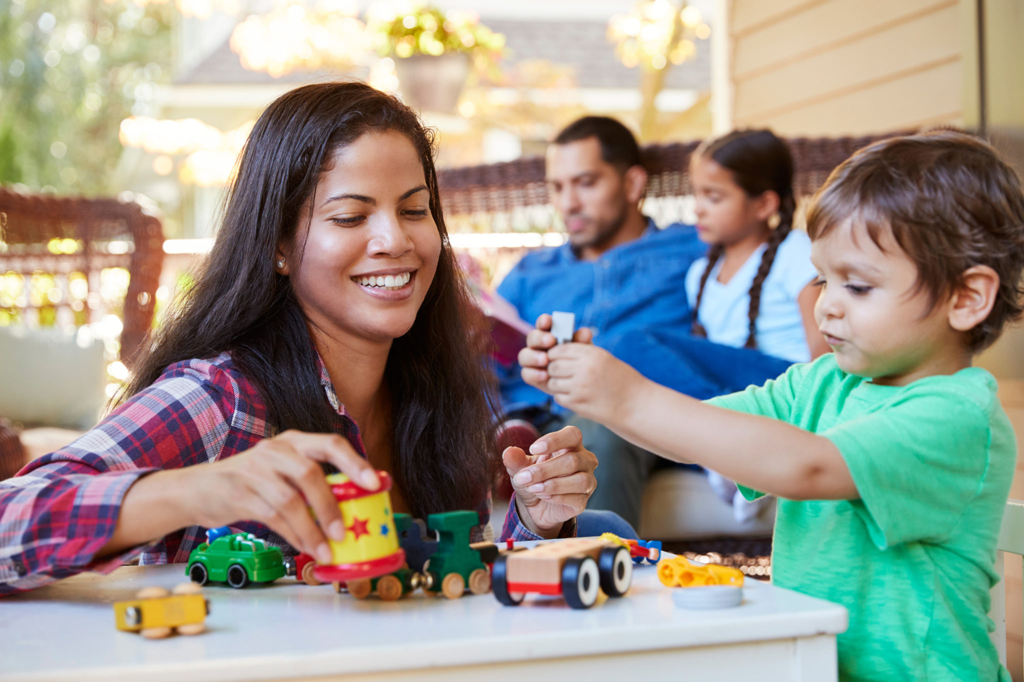 family playing to increase mental health