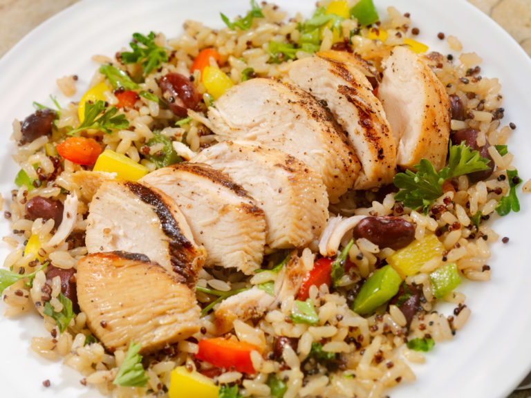 chicken and brown rice stir-fry