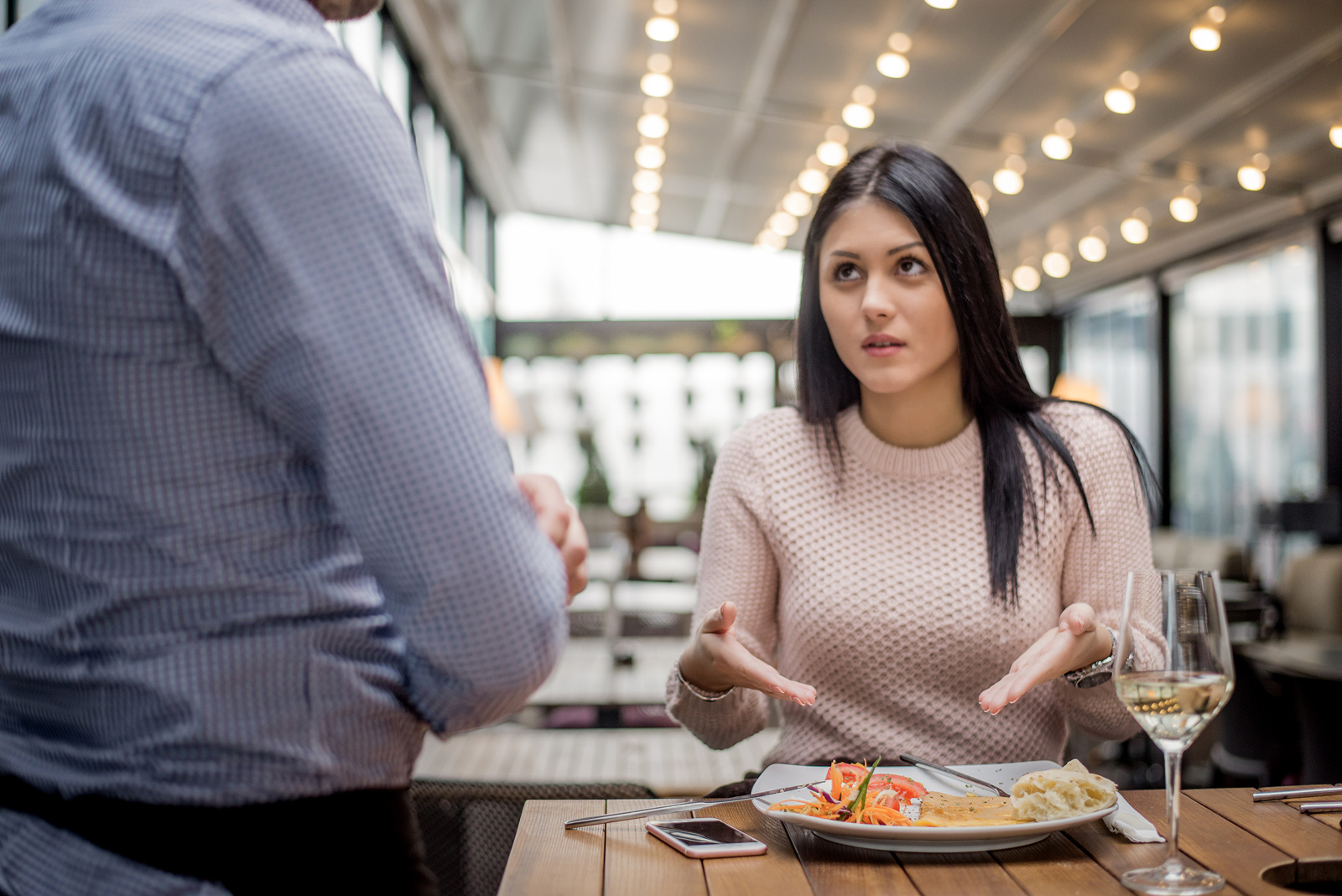 Woman unhappy with her food