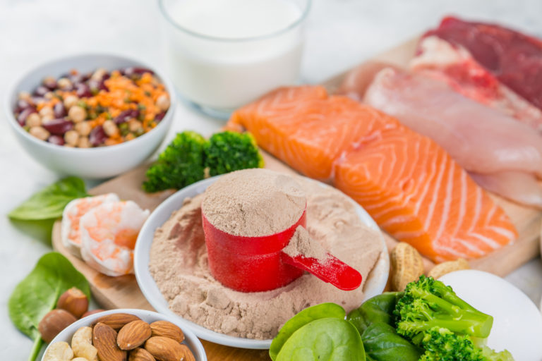 Different types of protein including protein powder