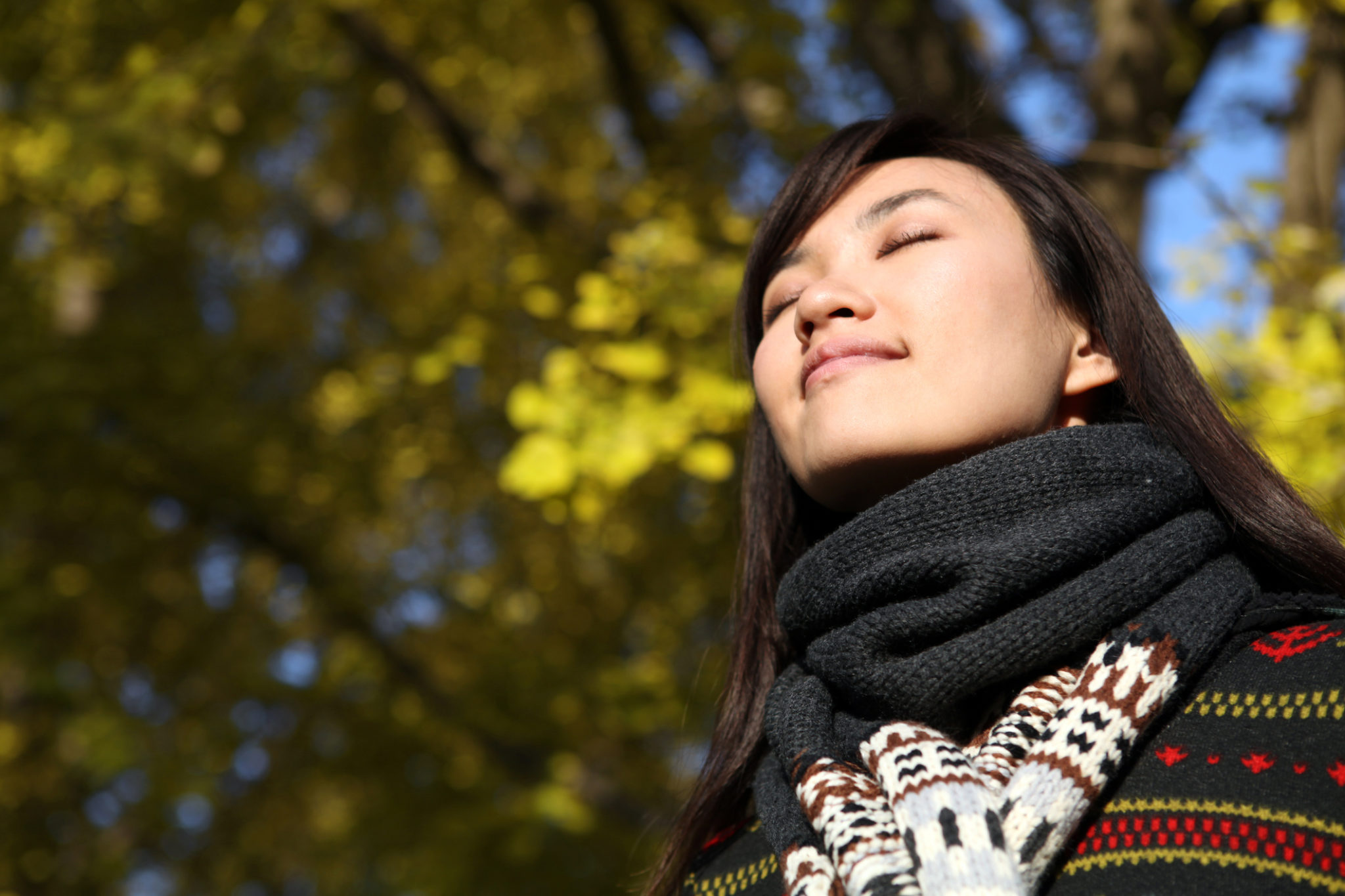 Young Woman Close Eyes and Deep Breathing