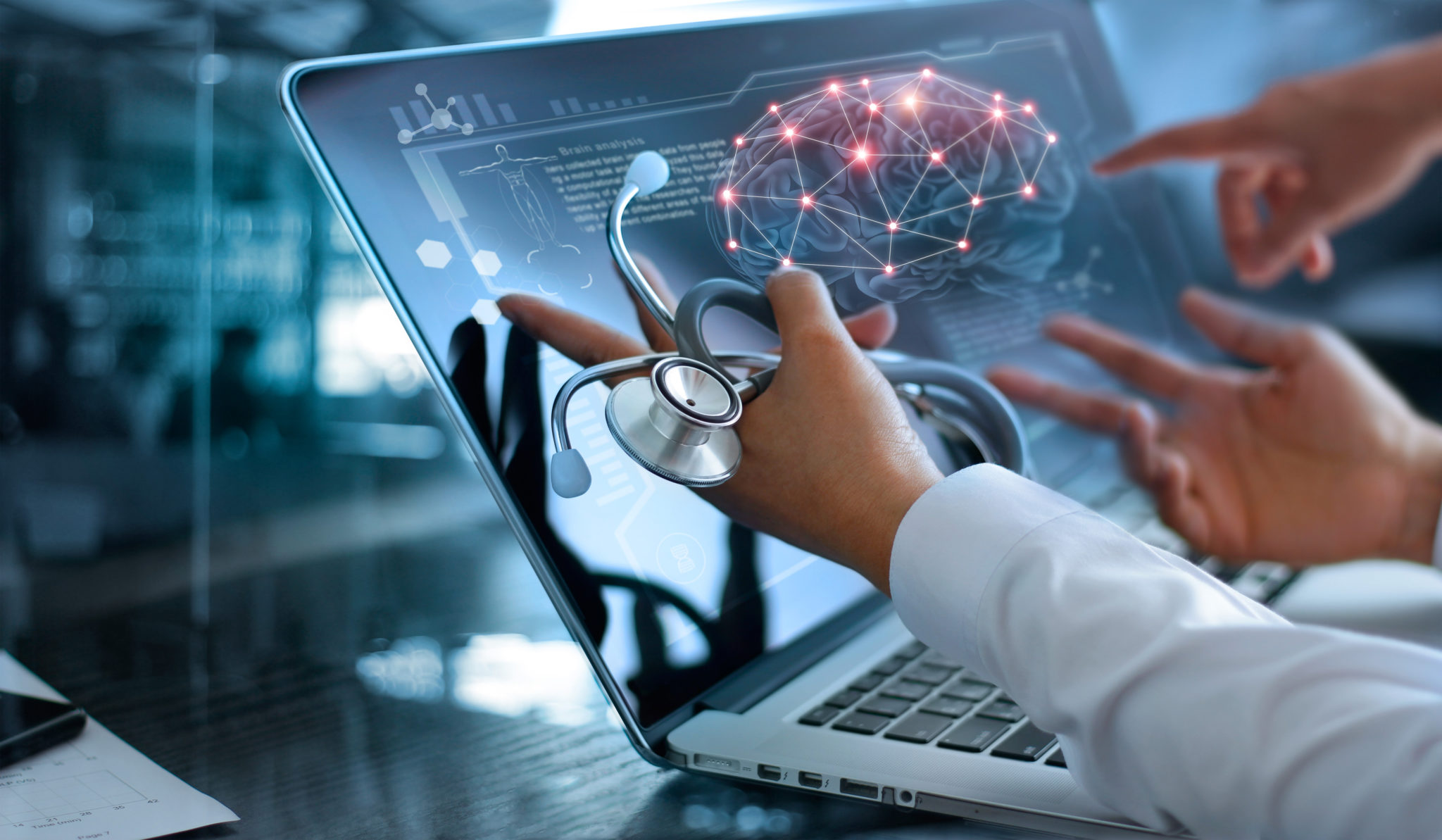 Medicine doctor team meeting and analysis. Diagnose checking brain testing result with modern virtual screen interface on laptop with stethoscope in hand,
