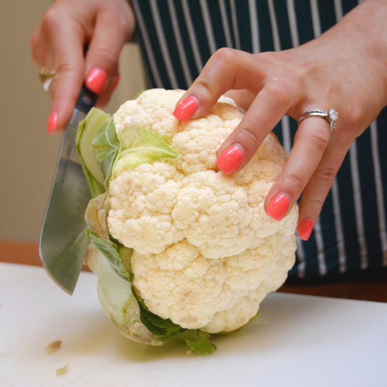 Preparing a head of cauliflower