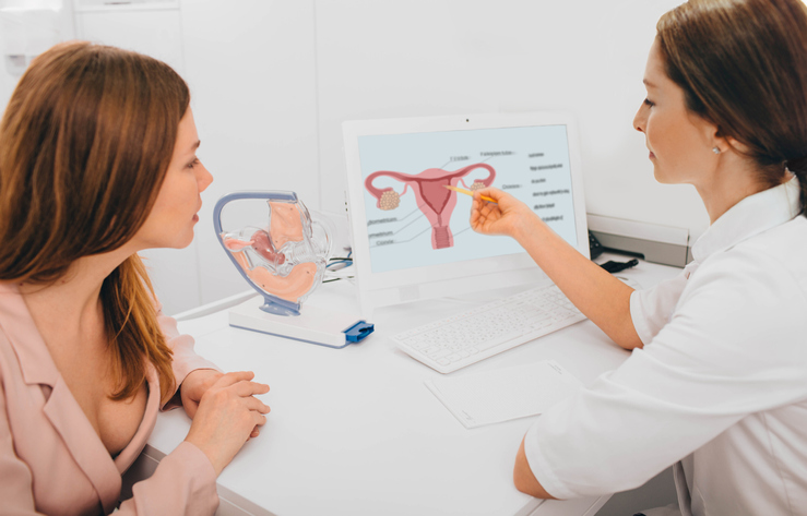 Women discussing fibroids with women's health professional