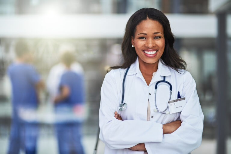 Portrait of a confident African-American female doctor working at a hospital