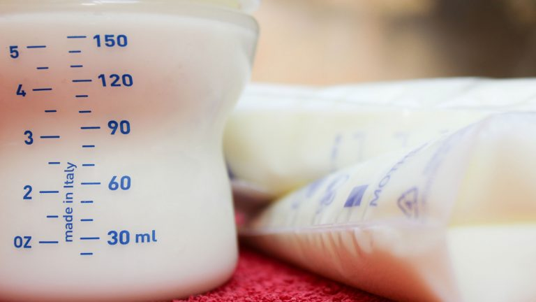 bags and a bottle of breastmilk